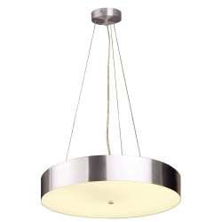 Grande suspension pour cuisine en verre et alu