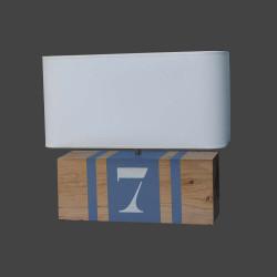 Lampe bois gris bleu