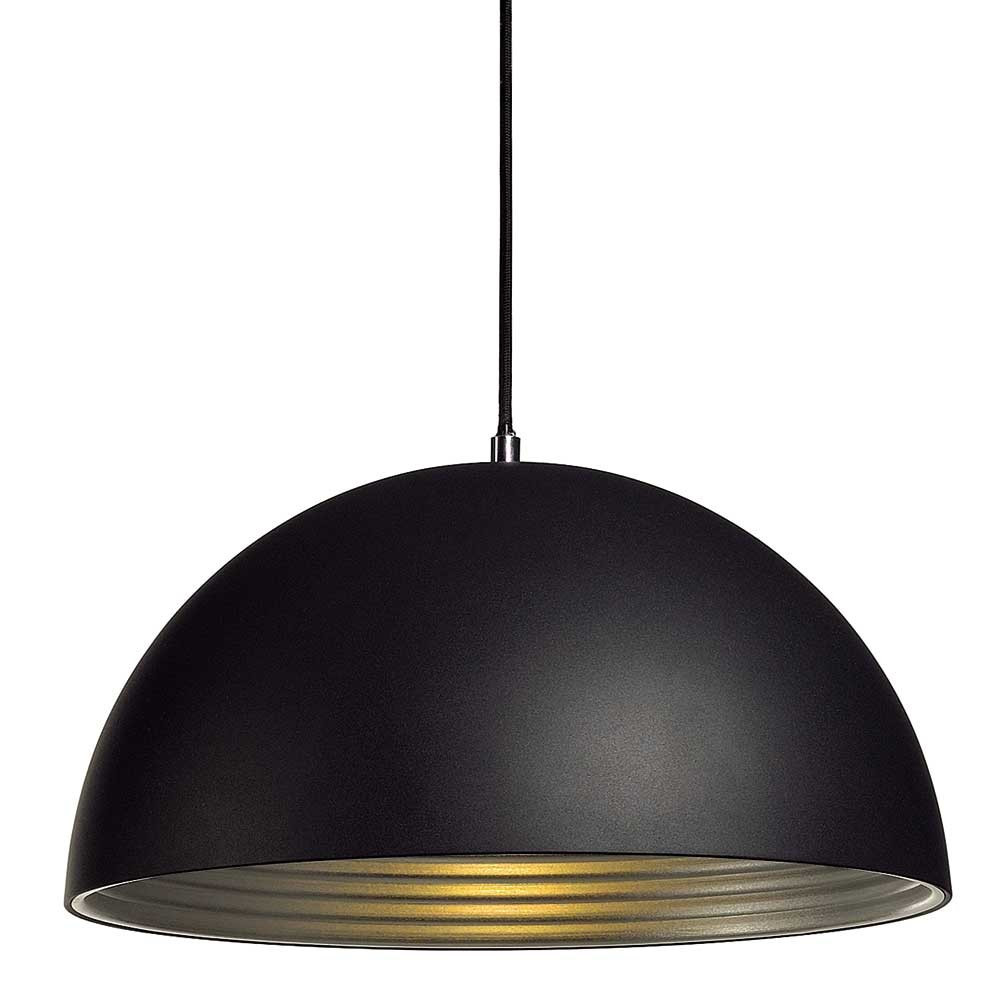 Suspension d me alu noir int rieur argent lampe avenue for Eclairage suspension design