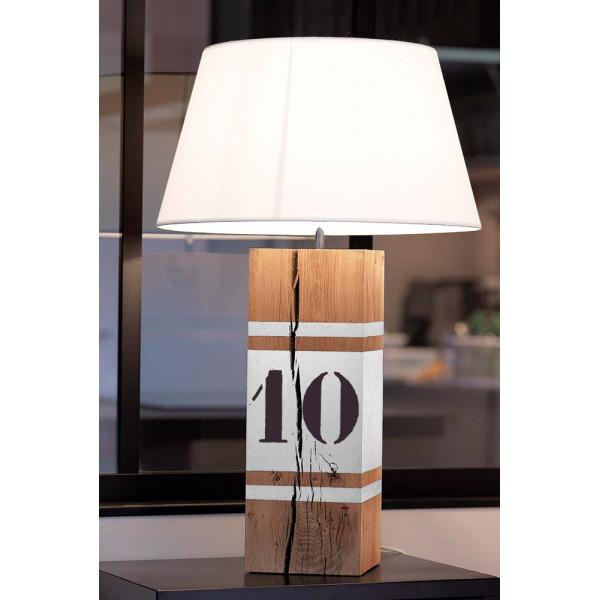 Lampe haute en bois l34 avec bandes blanches en vente sur for Lampe exterieur blanche
