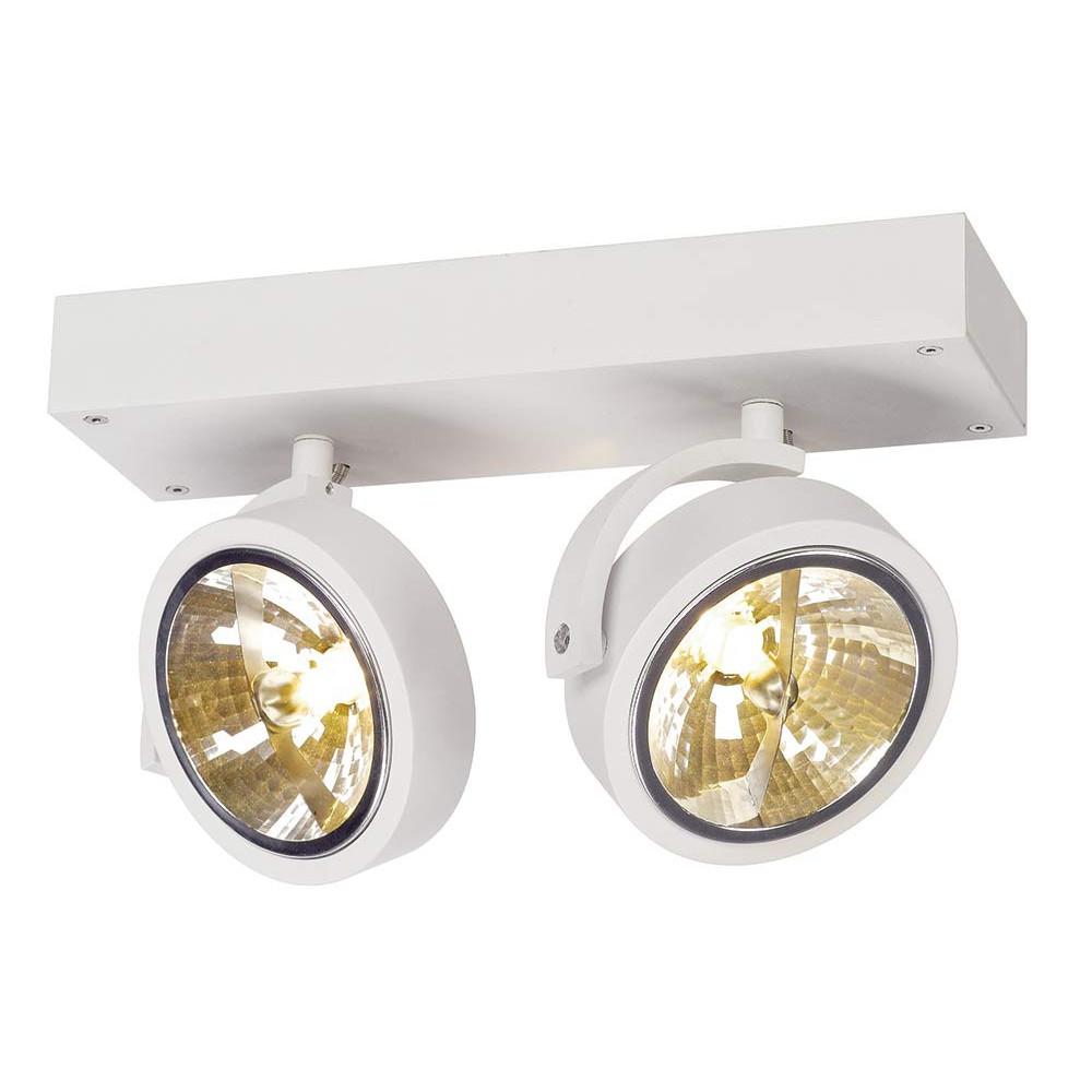Spot design double blanc plafond ou mur lampe avenue for Spot plafond exterieur