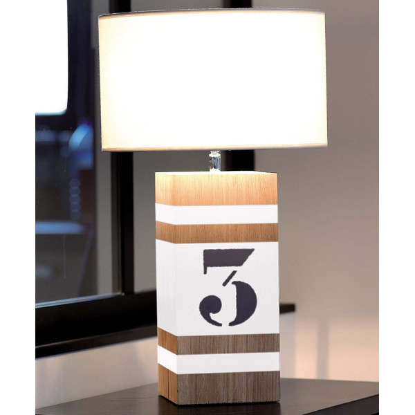 Lampe bois blanche