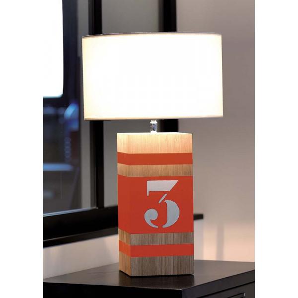 Lampe bois orange