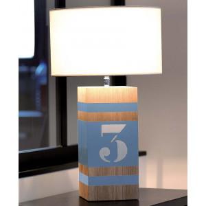 Lampe bois bleu