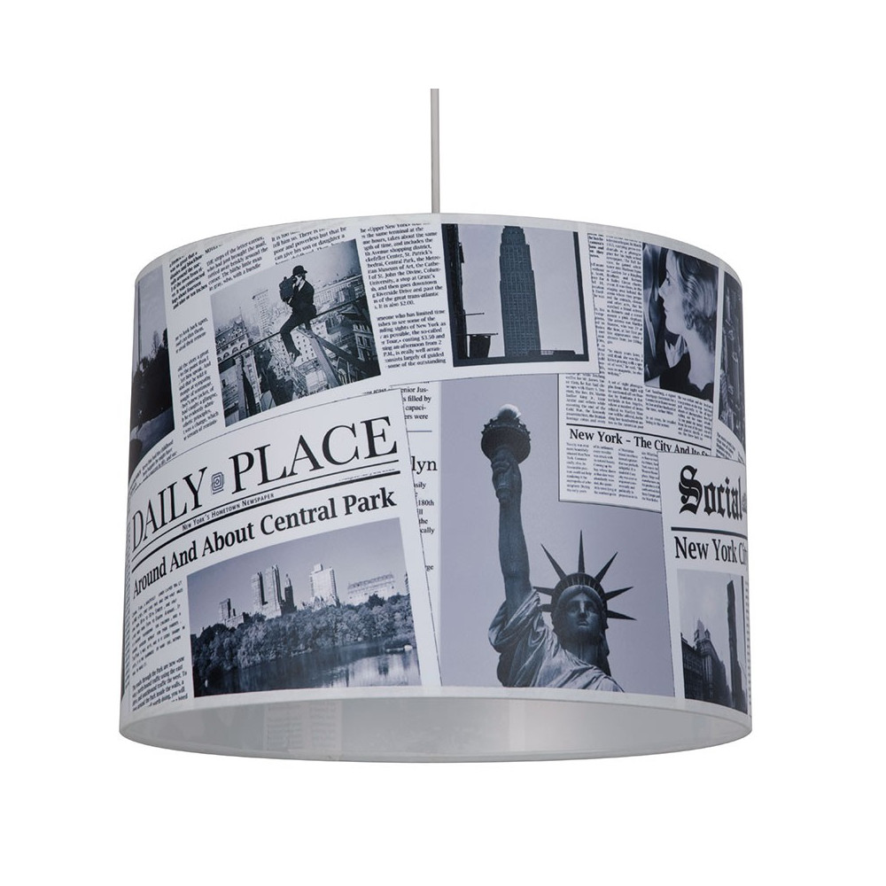 Suspension abat jour imprim newspaper luminaire ado en vente sur lampe avenue for Lampe suspension chambre ado