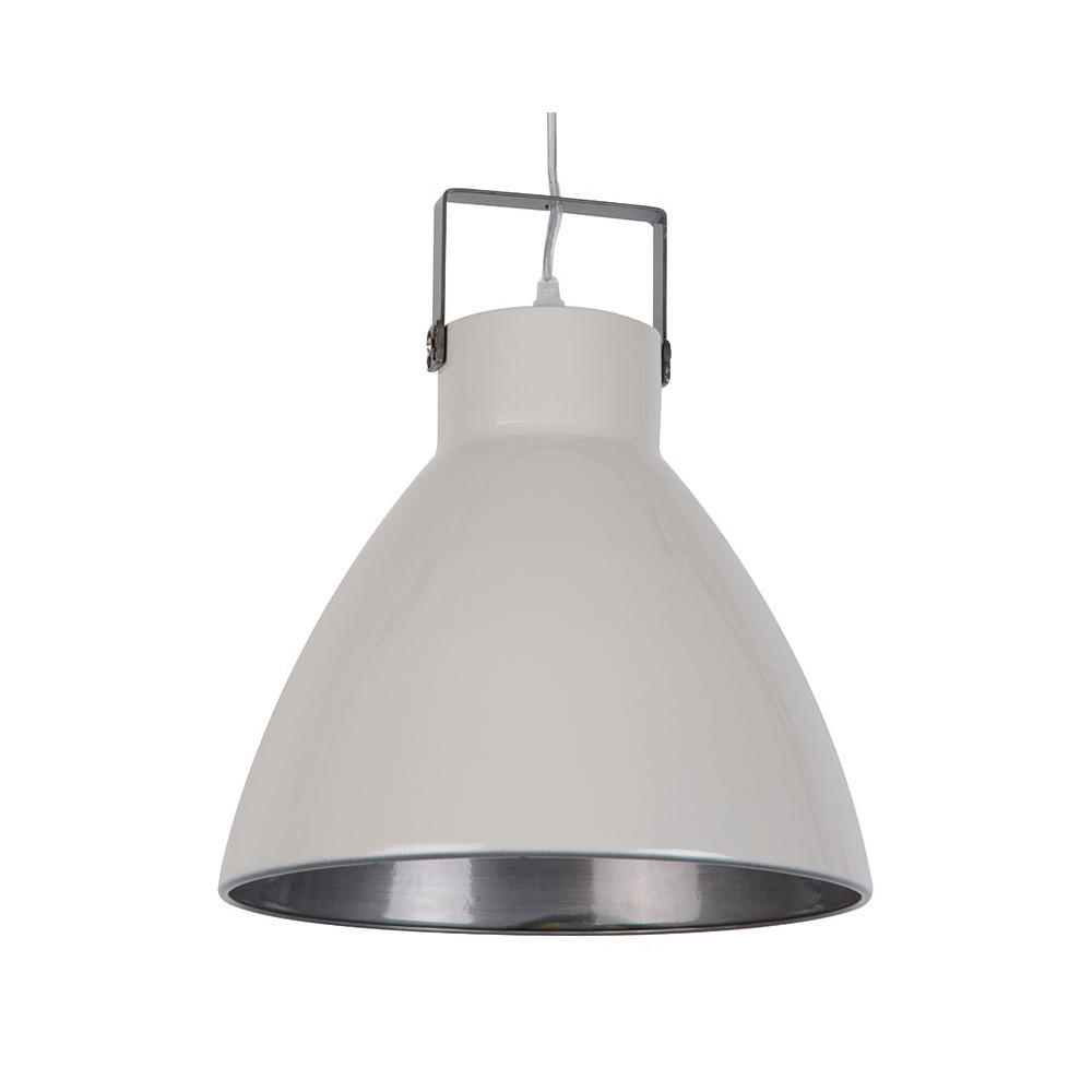 Suspension industrielle m tal blanc cr me en vente sur lampe avenue - Lampe suspension industrielle ...
