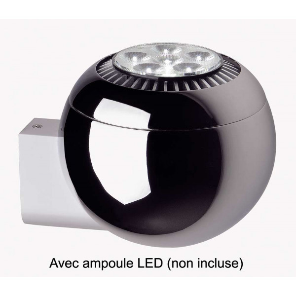Applique boule chrom e lampe avenue for Applique boule exterieur