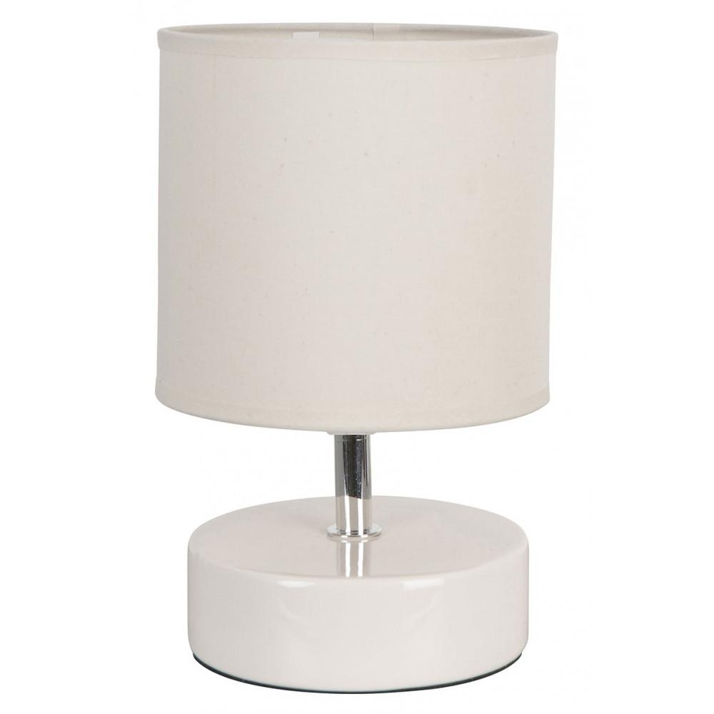 Lampe chevet blanche c ramique avec abat jour vente sur for Lampe de chevet blanche