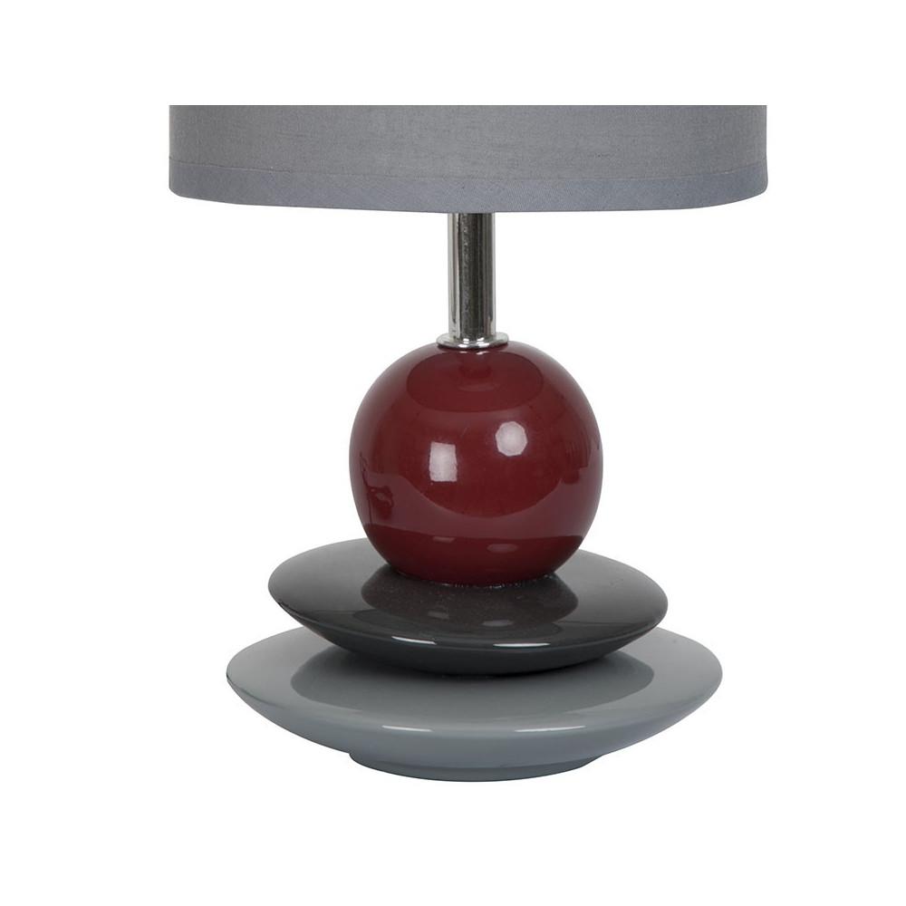 Lampe chevet grise pied galets c ramique en vente sur for Lampe a poser grise