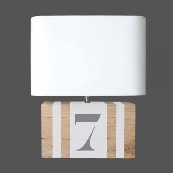 Lampe blanche en bois avec abat jour en vente sur lampe for Lampe exterieur blanche