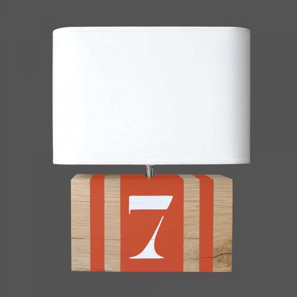 Lampe orange en bois