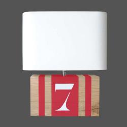 Lampe rouge en chêne