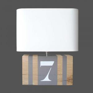 Lampe bois couleur taupe