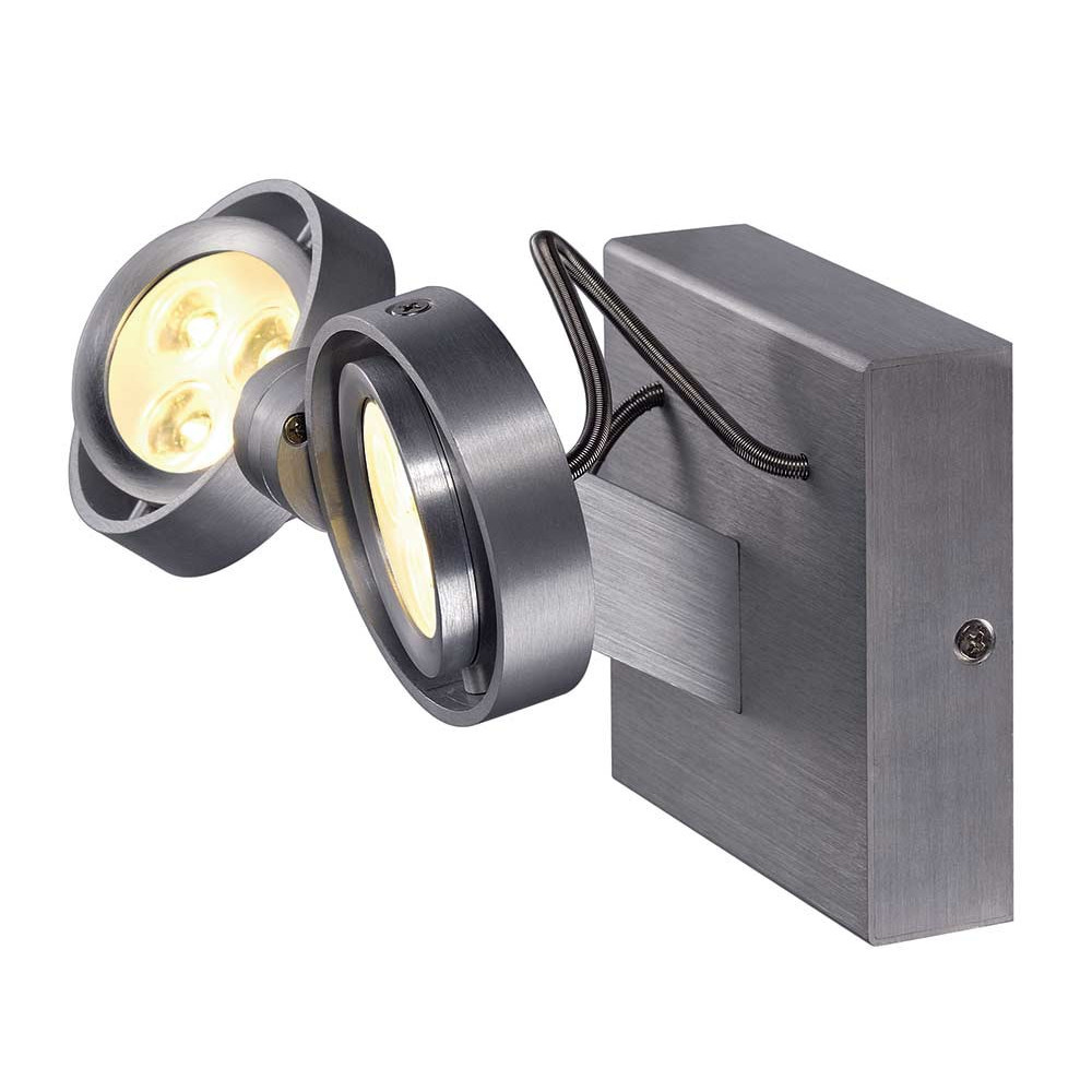 Spot led double en alu bross lampe avenue for Projecteur double exterieur