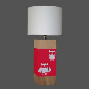 Lampe rouge enfant hibou