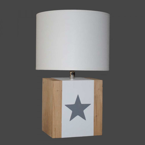 Lampe blanche bois avec étoile taupe
