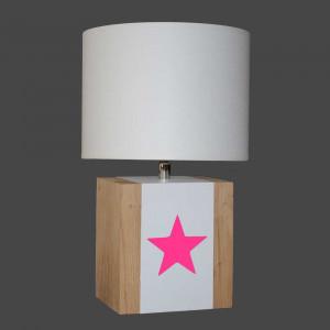 Lampe bois avec étoile rose fluo