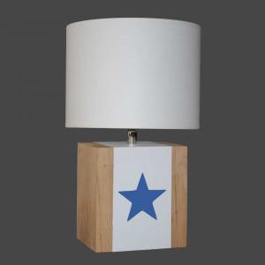 Lampe bois blanche étoile bleue