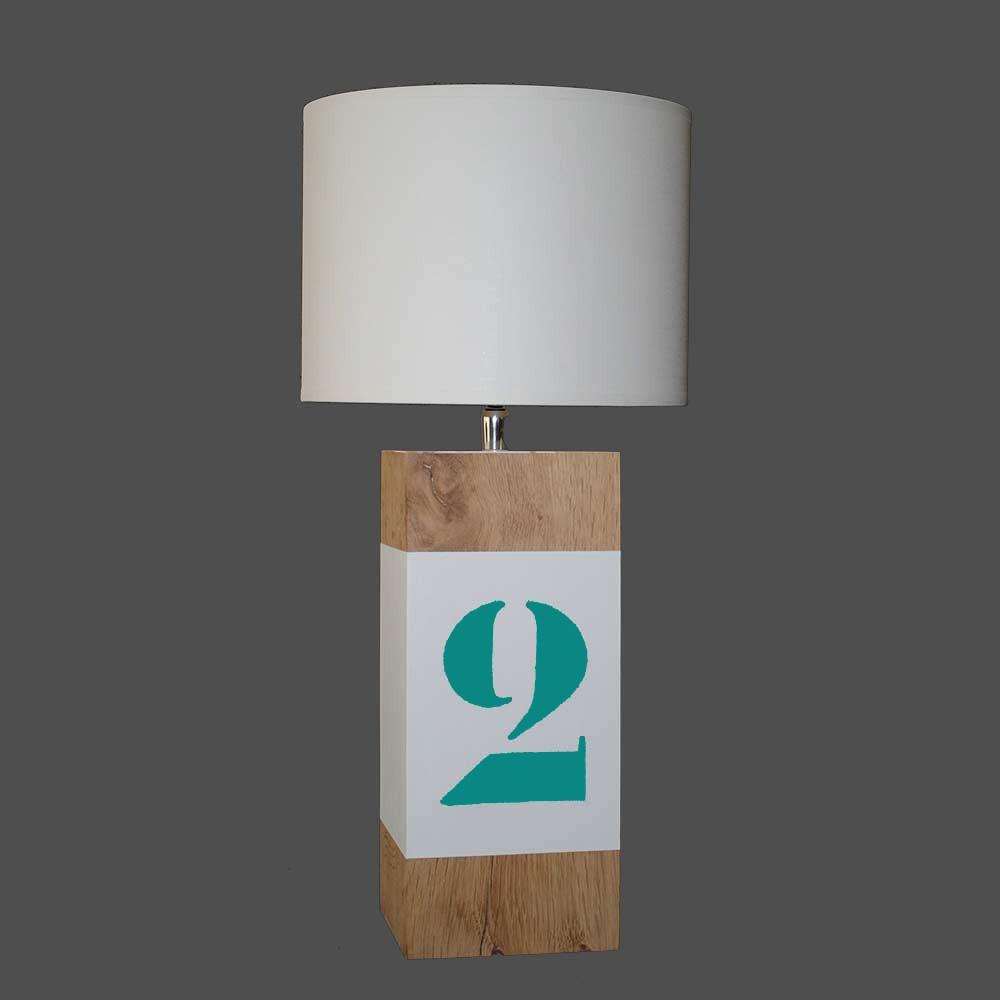 Lampe en bois l34 avec bande blanche en vente sur lampe avenue for Lampe exterieur blanche