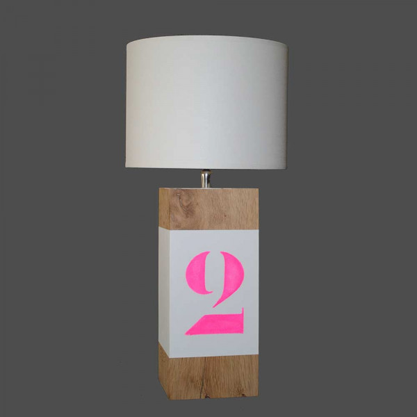 Lampe personnalisable rose fluo