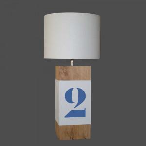 Lampe en bois chiffre bleu