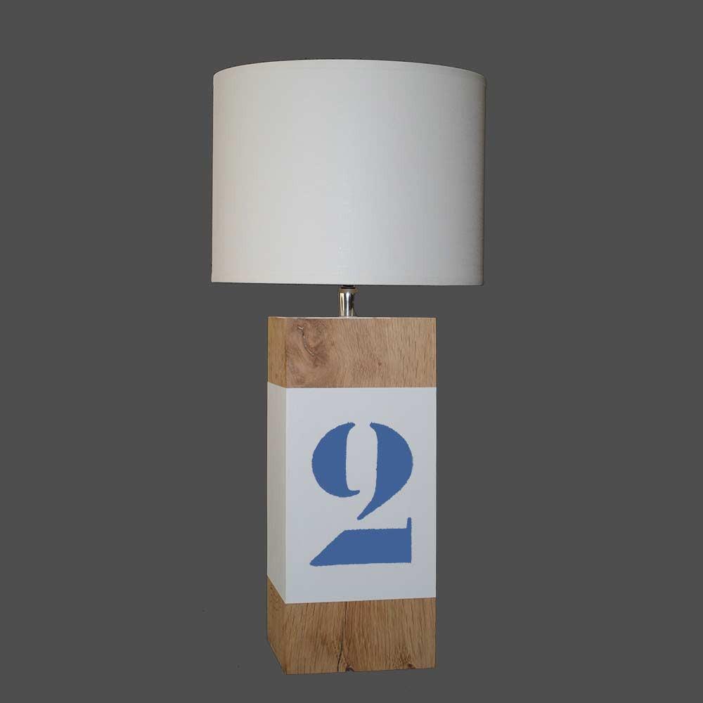 Lampe en bois l34 blanche et bleue vif en vente sur lampe for Lampe piscine bois