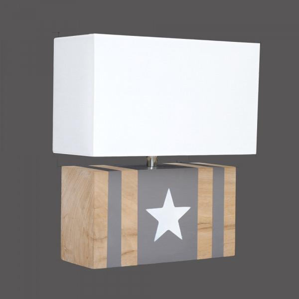 Applique chêne avec bandes taupe et étoile blanche