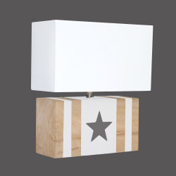 Applique bois blanche et étoile taupe