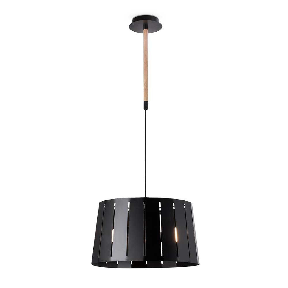 Suspension m tal noir et bois lampe avenue for Suspension metal noir