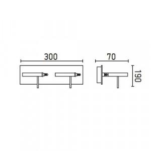 Applique LED design 2 spots réglette