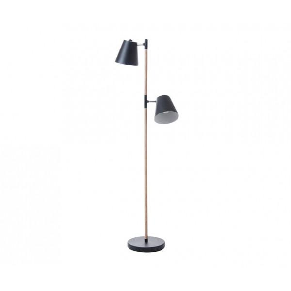 Lampadaire noir bois et métal