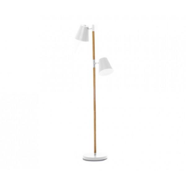 lampadaire blanc et bois