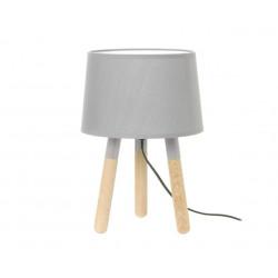 Lampe de table bois abat-jour gris