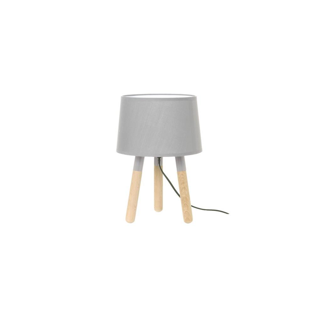 Lampe de table bois abat jour gris clair lampe avenue - Lampe de table bois ...