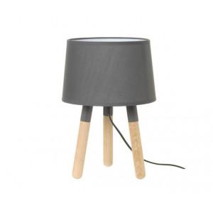 Lampe de table en bois et abat-jour gris foncé