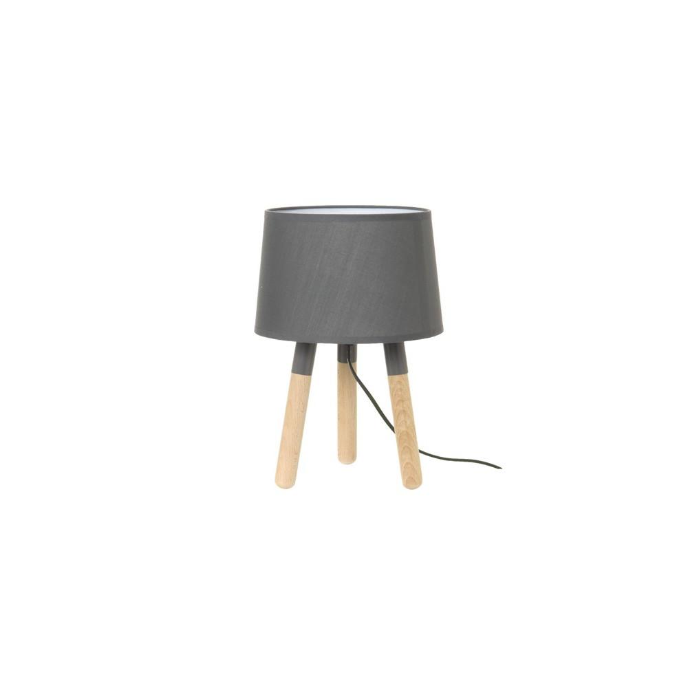 Lampe de table en bois et abatjour gris foncé