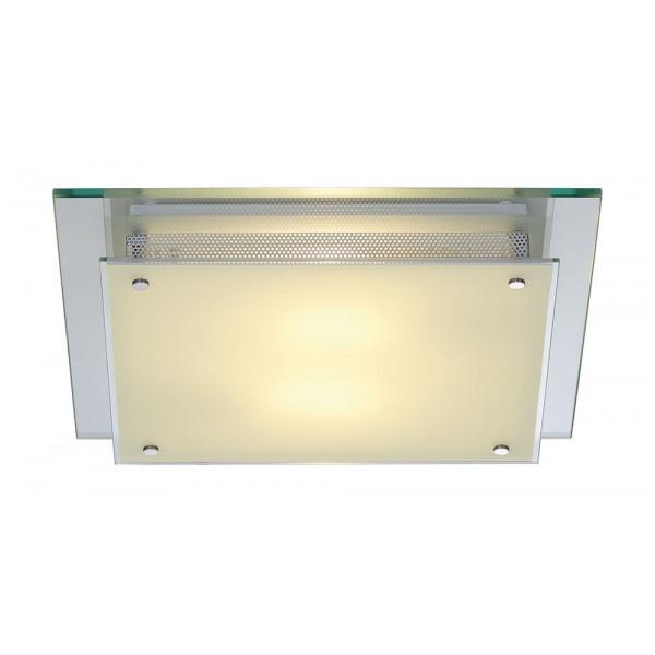 Plafonnier carré verre et acier