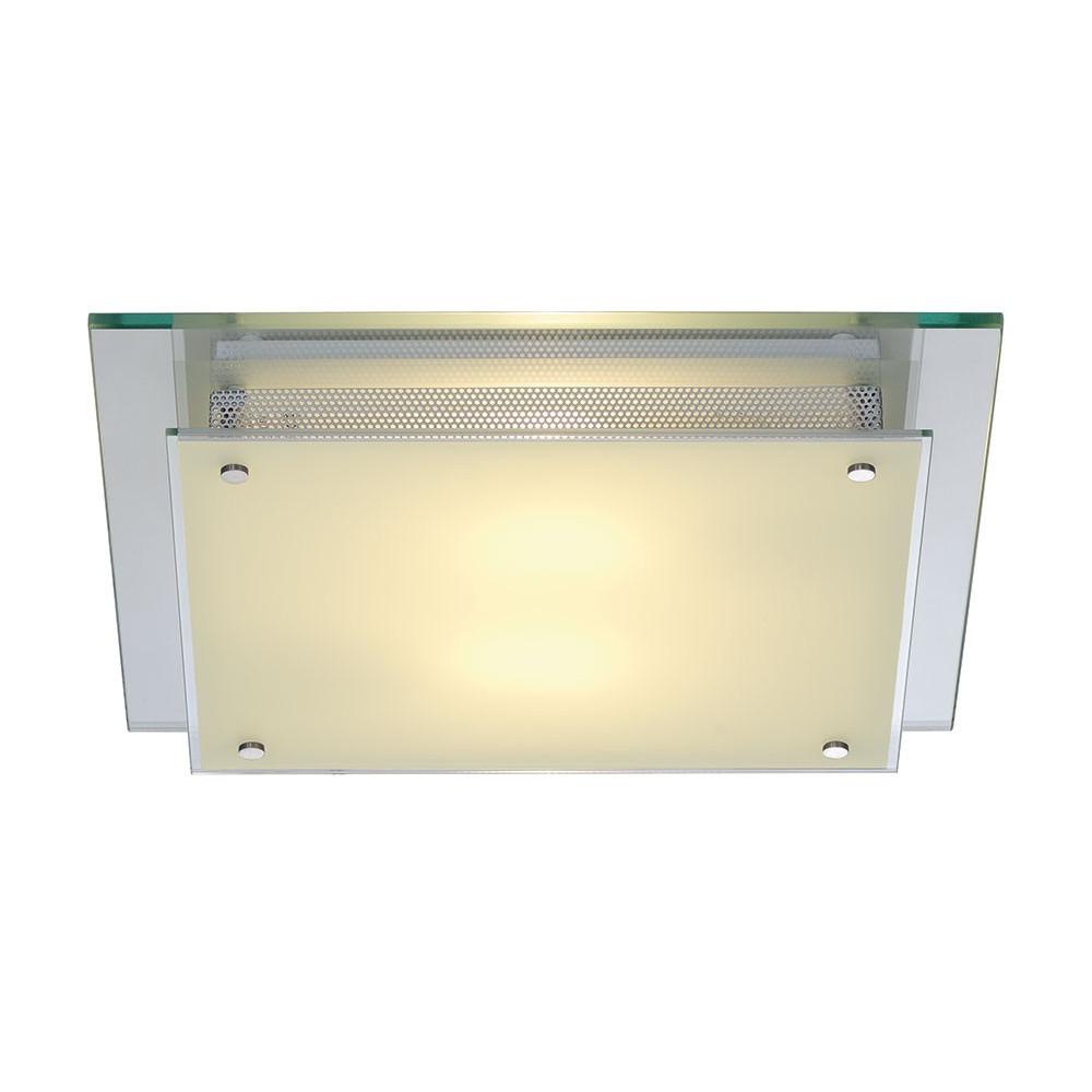 Plafonnier carr en verre et acier en vente sur lampe avenue for Extension verre et acier