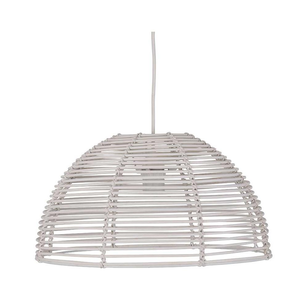 suspension rotin blanc en forme de d me achat sur lampe. Black Bedroom Furniture Sets. Home Design Ideas