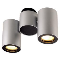 Plafonnier design gris 2 spots