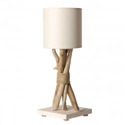 Lampe chevet bois flotté abat jour blanc