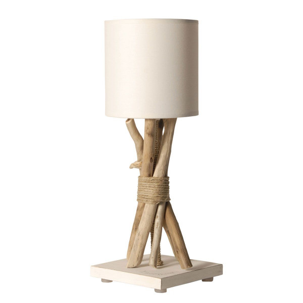 lampe de chevet bois flott abat jour blanc en vente sur. Black Bedroom Furniture Sets. Home Design Ideas