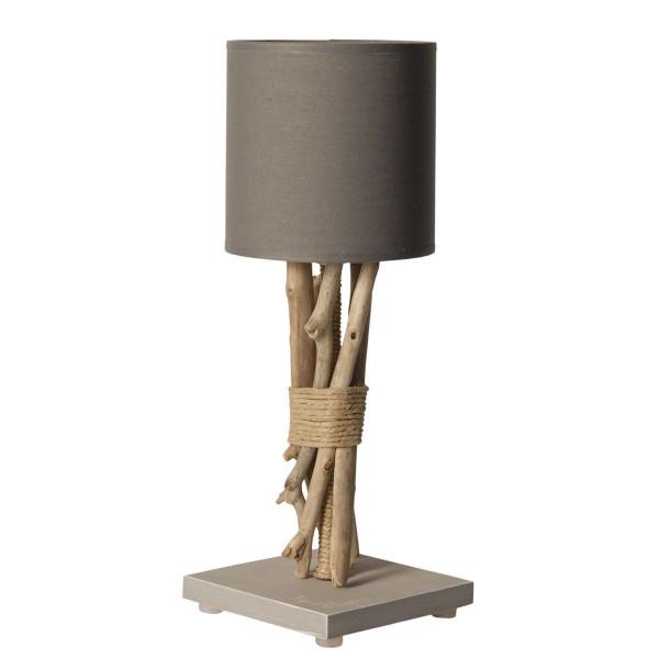 lampe de chevet bois flott abat jour gris clair. Black Bedroom Furniture Sets. Home Design Ideas