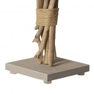 Lampe de chevet bois flotté abat-jour gris