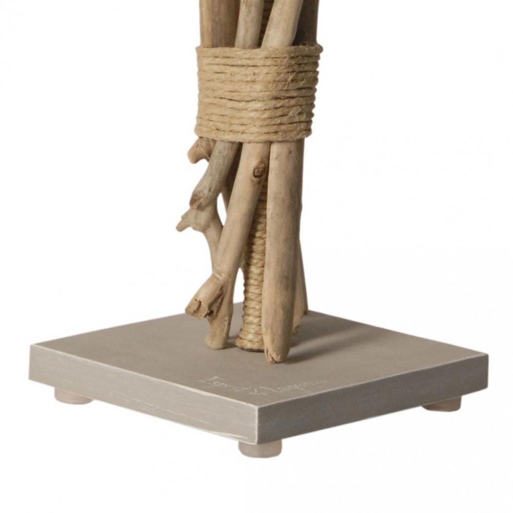 Lampe de chevet bois flott abat jour gris clair for Lampes en bois flotte