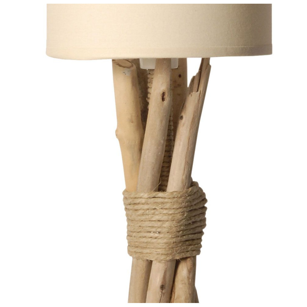 petite lampe poser en bois flott abat jour beige. Black Bedroom Furniture Sets. Home Design Ideas