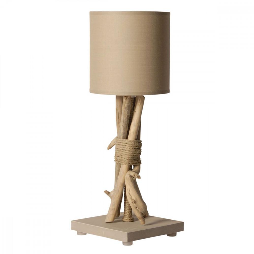 Lampe poser taupe en bois flott for Lampe design bois flotte