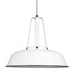 Suspension industrielle métal blanc 45cm