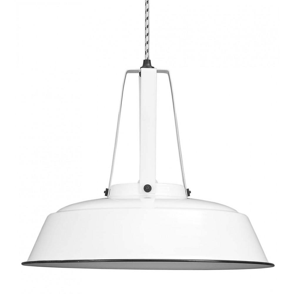 Suspension industrielle m tal blanc 45cm lampe avenue - Suspension metal blanc ...