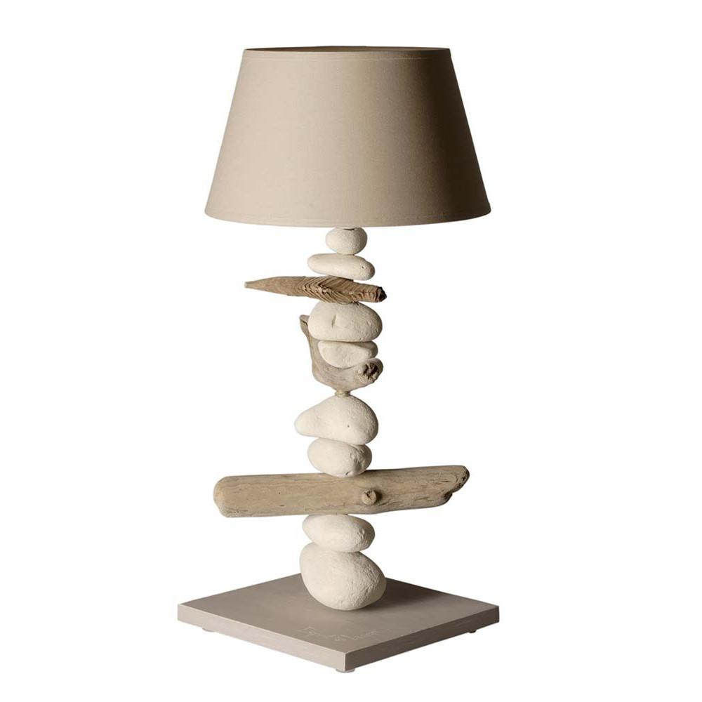 Grande lampe beige en bois flott chic et tendance co for Lampe de chevet bois flotte